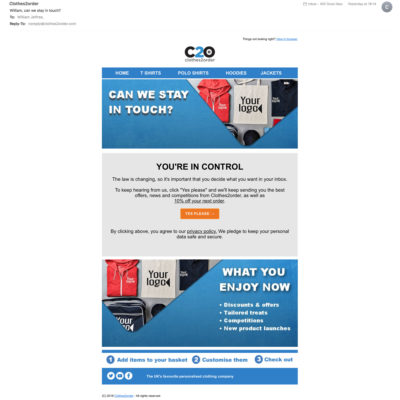 Opt-in Email Newsletters - Clothes to Order